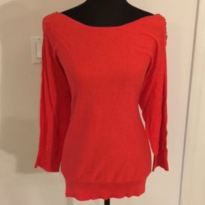 MICHAEL KORS 3/4Sleeve Chain Link Shoulder Sweater